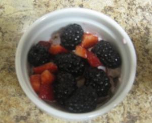 berry yogurt tart with strawberries and blackberries