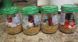 Berry yogurt tart in baby food jars